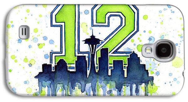 Skyline Galaxy S4 Case - Seattle Seahawks 12th Man Art by Olga Shvartsur