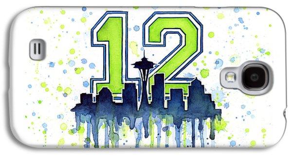 Seattle Seahawks 12th Man Art Galaxy S4 Case by Olga Shvartsur
