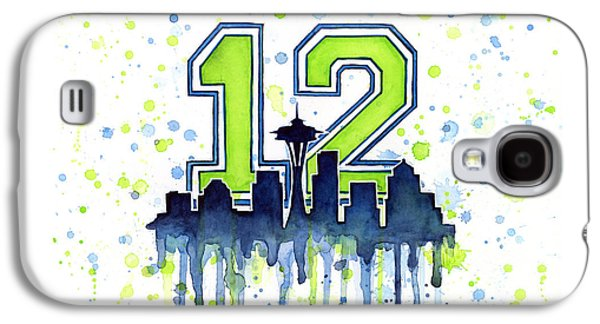 Sports Galaxy S4 Case - Seattle Seahawks 12th Man Art by Olga Shvartsur