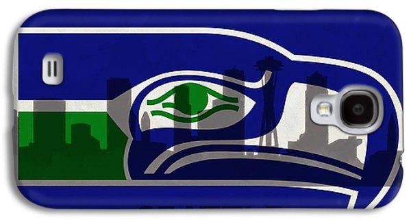Seattle Seahawks On Seattle Skyline Galaxy S4 Case by Dan Sproul