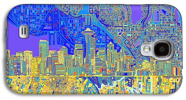 Seattle Skyline Abstract 6 Galaxy S4 Case