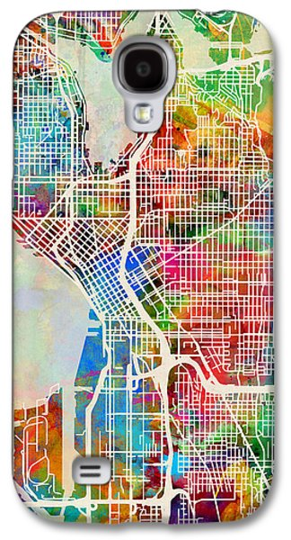 Seattle Galaxy S4 Case - Seattle Washington Street Map by Michael Tompsett
