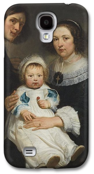 Self Portrait With Wife Catherine De Hemerlaer And Son Jan Erasmus Quellinus, 1635-36 Oil On Canvas Galaxy S4 Case by Erasmus Quellinus