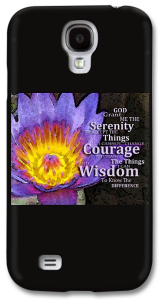 Serenity Prayer With Lotus Flower By Sharon Cummings Galaxy S4 Case by Sharon Cummings