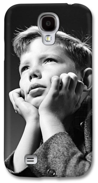 Serious Boy With Chin In Hands, C.1940s Galaxy S4 Case