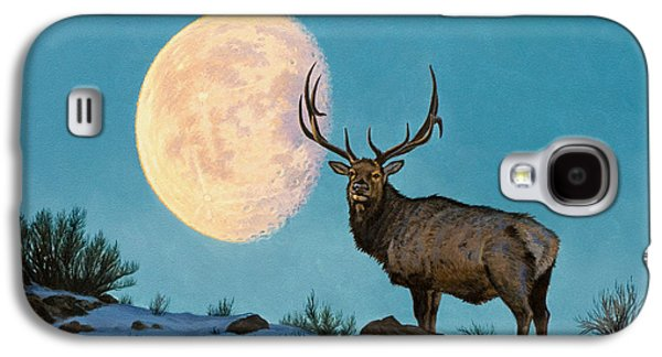 Bull Galaxy S4 Case - Setting Moon And Elk by Paul Krapf