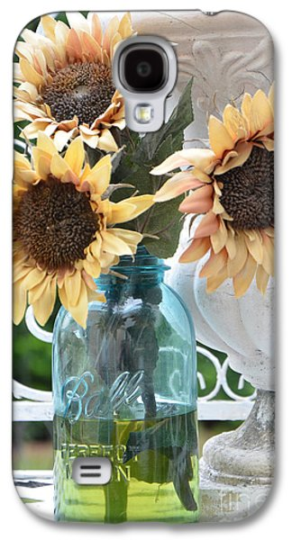Shabby Chic Autumn Fall Yellow Sunflowers In Mason Ball Jar - Vintage Flowers Mason Jar  Galaxy S4 Case
