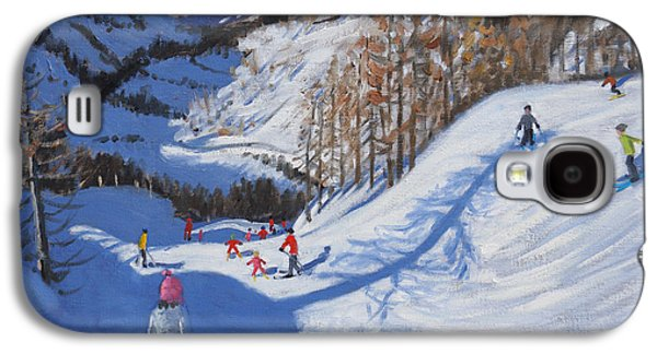 Shadow Of A Fir Tree And Skiers At Tignes Galaxy S4 Case by Andrew Macara