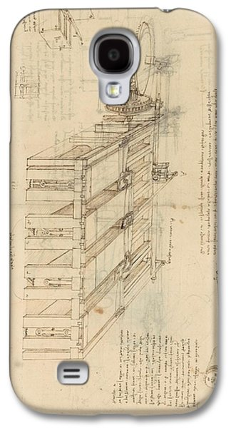 Shearing Machine With Detailed Captions Explaining Its Working From Atlantic Codex Galaxy S4 Case by Leonardo Da Vinci