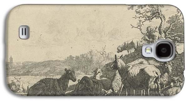 Shepherd With Dog On A Hill, Playing On A Flute Galaxy S4 Case by Artokoloro