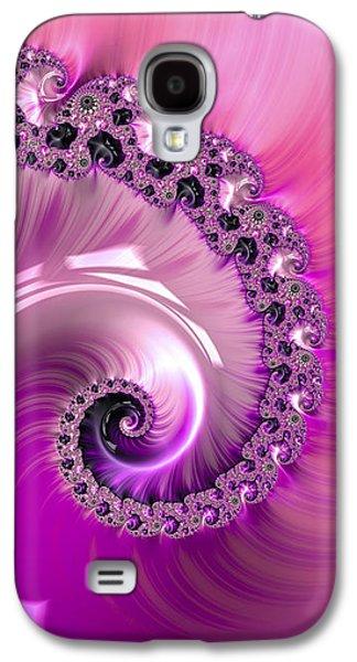 Shiny Pink Fractal Spiral Galaxy S4 Case by Matthias Hauser