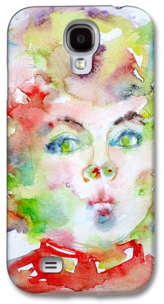 Shirley Temple - Watercolor Portrait.2 Galaxy S4 Case by Fabrizio Cassetta
