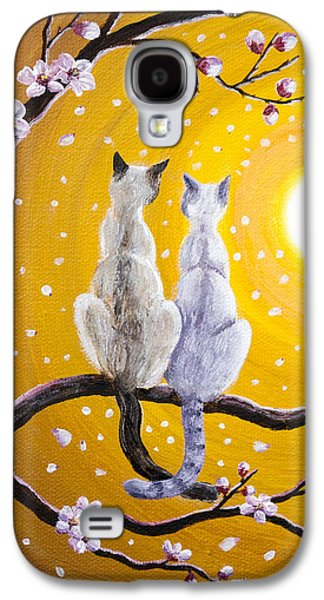 Siamese Cats Nestled In Golden Sakura Galaxy S4 Case by Laura Iverson