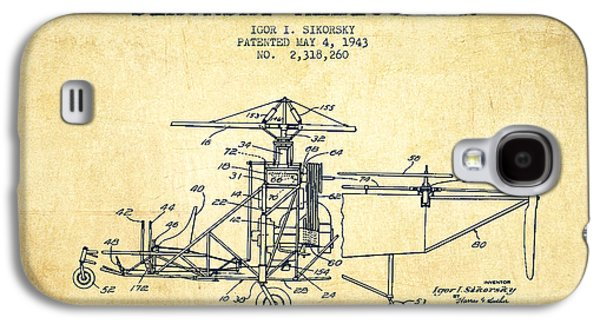 Helicopter Galaxy S4 Case - Sikorsky Helicopter Patent Drawing From 1943-vintage by Aged Pixel