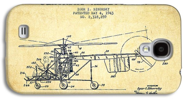 Helicopter Galaxy S4 Case - Sikorsky Helicopter Patent Drawing From 1943-vintgae by Aged Pixel
