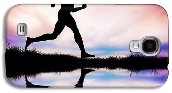 Silhouette Of Man Running At Sunset Galaxy S4 Case by Michal Bednarek