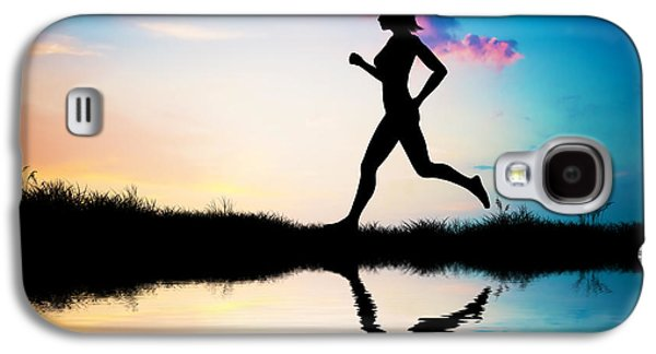 Silhouette Of Woman Running At Sunset Galaxy S4 Case by Michal Bednarek
