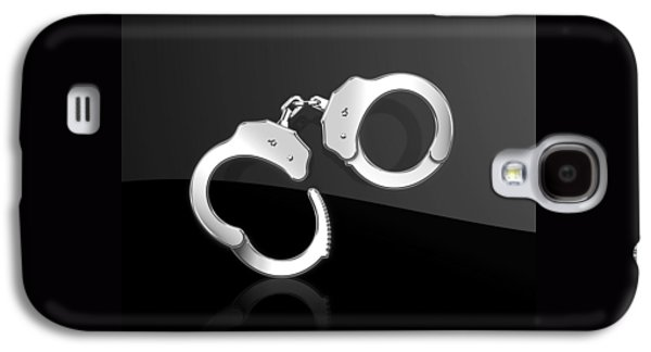 Silver Handcuffs On Black Background Galaxy S4 Case by Serge Averbukh