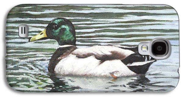 Single Mallard Duck In Water Galaxy S4 Case by Martin Davey