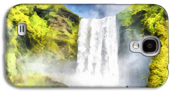 Skogafoss Waterfall Iceland Painting Aquarell Watercolor Galaxy S4 Case