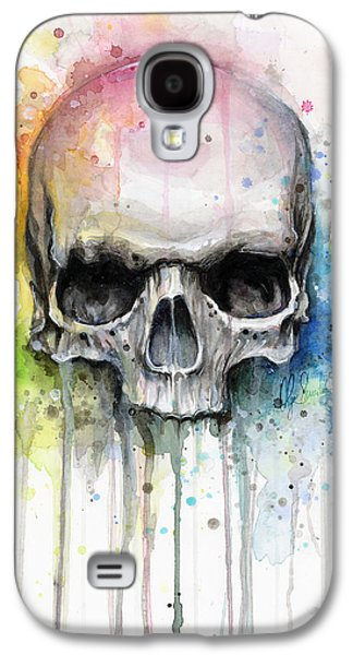 Skull Watercolor Painting Galaxy S4 Case by Olga Shvartsur