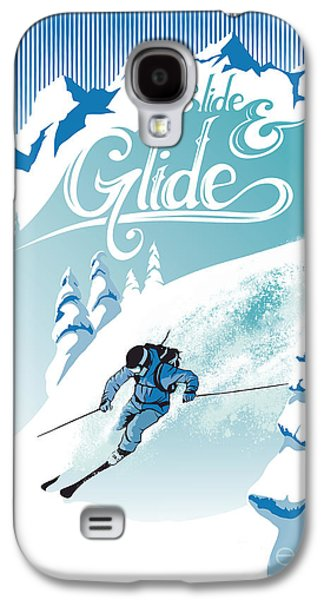 Slide And Glide Retro Ski Poster Galaxy S4 Case by Sassan Filsoof