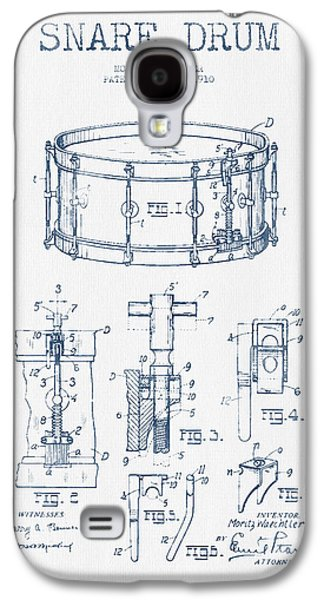 Drum Galaxy S4 Case - Snare Drum Patent Drawing From 1910  - Blue Ink by Aged Pixel