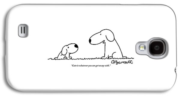 Snoopy Talks To Snoopy Junior About Being Cute Galaxy S4 Case by Charles Barsotti