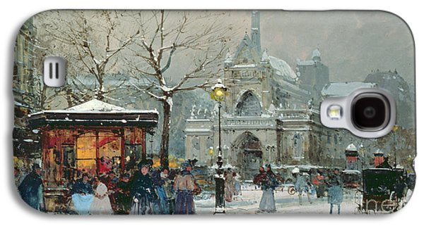 Snow Scene In Paris Galaxy S4 Case by Eugene Galien-Laloue