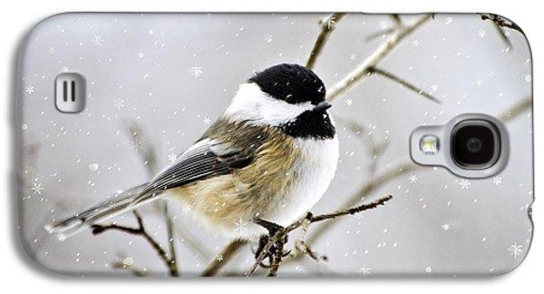 Snowy Chickadee Bird Galaxy S4 Case by Christina Rollo