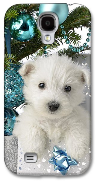 Snowy White Puppy Present Galaxy S4 Case by Greg Cuddiford