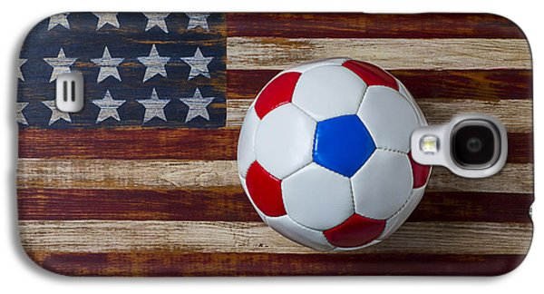 Soccer Ball On American Flag Galaxy S4 Case by Garry Gay