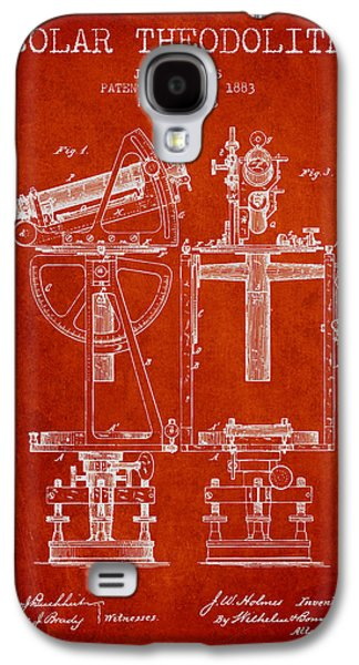 Solar Theodolite Patent From 1883 - Red Galaxy S4 Case by Aged Pixel