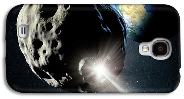 Spacecraft Colliding With Asteroid Galaxy S4 Case by Detlev Van Ravenswaay