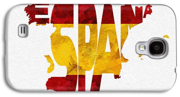 Spain Typographic Map Flag Galaxy S4 Case