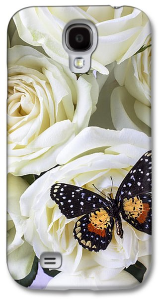 Speckled Butterfly On White Rose Galaxy S4 Case