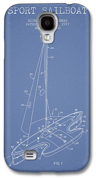 Sport Sailboat Patent From 1977 - Light Blue Galaxy S4 Case