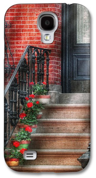 Spring - Porch - Hoboken Nj - Geraniums On Stairs Galaxy S4 Case by Mike Savad