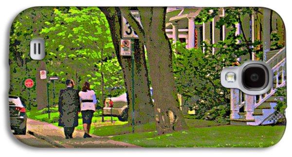 Springtime Stroll Through Beautiful Tree Lined Outremont Montreal Street Scene Art By Carole Spandau Galaxy S4 Case by Carole Spandau