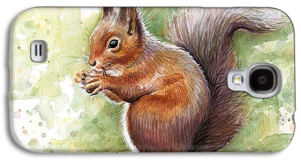 Squirrel Watercolor Art Galaxy S4 Case