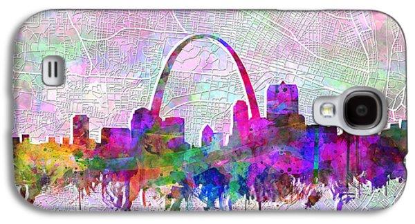 St Louis Skyline Watercolor 6 Galaxy S4 Case by Bekim Art