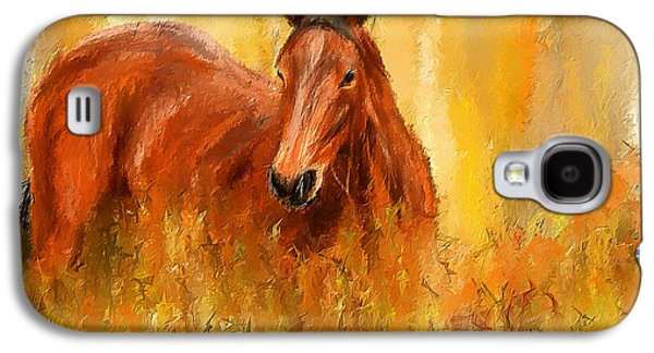 Stallion In Autumn - Bay Horse Paintings Galaxy S4 Case by Lourry Legarde