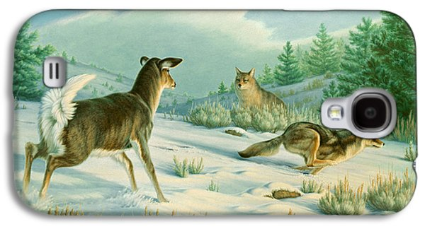 Stand-off  -whitetail Doe And Coyotes Galaxy S4 Case