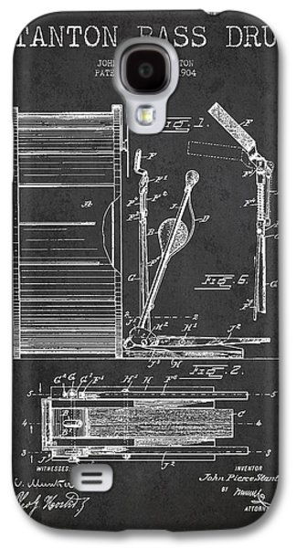 Drum Galaxy S4 Case - Stanton Bass Drum Patent Drawing From 1904 - Dark by Aged Pixel