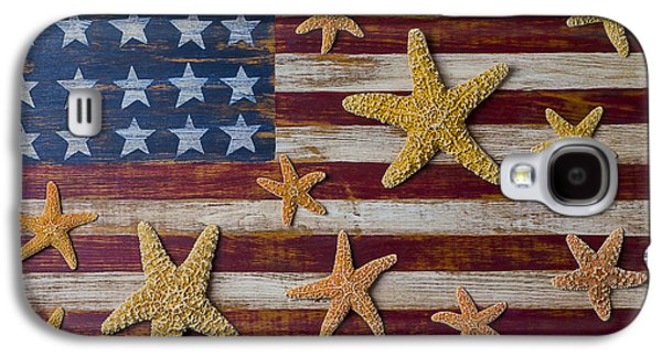 Starfish On American Flag Galaxy S4 Case by Garry Gay