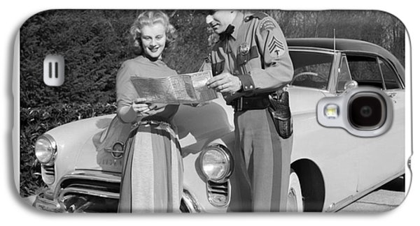State Patrolman Assists Young Woman Traveler 1951 Galaxy S4 Case