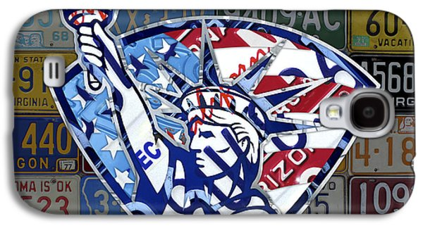 Statue Of Liberty On Stars And Stripes Flag Background Recycled Vintage License Plate Art Galaxy S4 Case