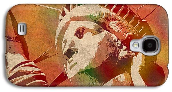 Statue Of Liberty Watercolor Portrait No 1 Galaxy S4 Case