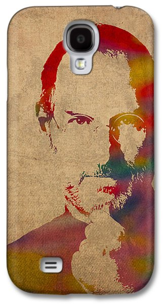 Steve Jobs Apple Ceo Watercolor Portrait On Worn Distressed Canvas Galaxy S4 Case by Design Turnpike