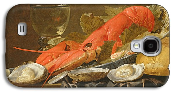 Still Life With Lobster, Shrimp, Roemer, Oysters And Bread Oil On Copper Galaxy S4 Case by Christiaan Luykx or Luycks